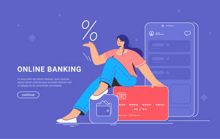 Online banking and red credit card interest rate. Flat vector illustration of smiling woman sitting on a big credit card with bank mobile app and smartphone behind her for profit and investments