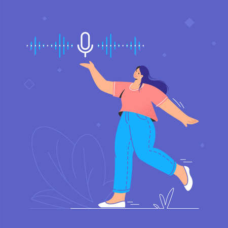 Voice assistant and speech recognition mobile app. Concept modern vector illustration of young woman walking and pionting to a microphone app for mobile smartphone with voice sound as neon soundwave