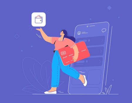Online banking, ewallet and credit card. Flat vector illustration of smiling woman going out of a smartphone with red credit card and pionting to wallet mobile app for accounting and investments
