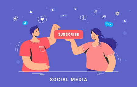 Social media marketing and increasing subscribers. Flat vector concept illustration of smiling woman and man standing together and pushung the red button to stay informed about recent news and updates