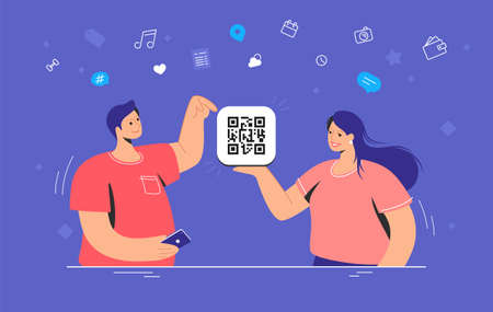 QR code multipurpose usage. Flat vector illustration of smiling woman holding holding a card with qr-code and man pointing it for quick payment, shopping, planning and billing online
