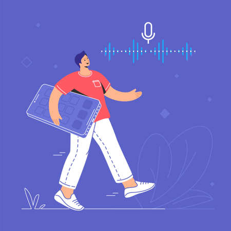 Voice assistant and speech recognition mobile app. Concept modern vector illustration of young man carrying a big smartphone and saying something to a microphone mobile app with neon soundwave 向量圖像