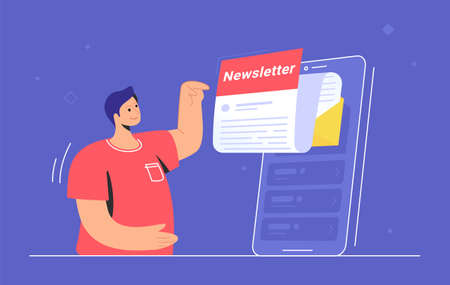 Newsletter subcription online in mobile app. Flat vector illustration of smiling man pointing to a big smartphone with new monthly letter flying out of screen to be up-to-date and get news and updates 向量圖像