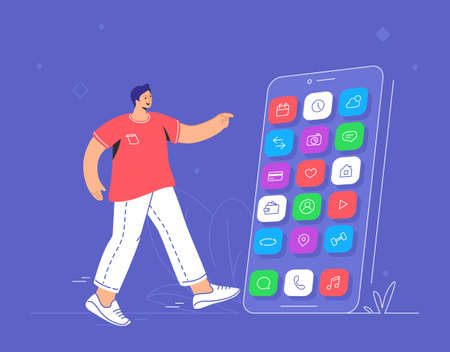 Young smiling man pointing to his big smartphone to choose chat app, social media networks, banking and other smart mobile apps. Flat vector illustration of user experience and mobile apps usage