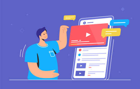 Video watching and live streaming on mobile phone. Gradient vector illustration of cute man standing near big smartphone and pushing play button of video. Smart phone, speech bubbles and video frame