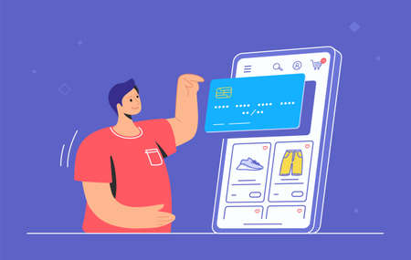 Online store e-commerce mobile app. Flat line vector illustration of cute man standing alone and pointing to big smartphone with credit card and shop items. Shopping online via mobile ecommerce apps 向量圖像