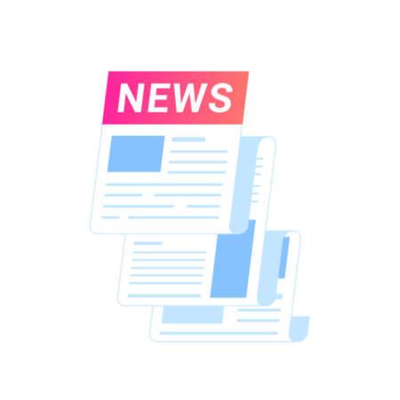 Breaking news notification of latest updates for world, entertainment and politics. Flat vector icon of flying newspaper isolated on white background