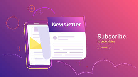 Newsletter subcription online in mobile app. Vector gradient illustration of big smartphone with new monthly letter flying out of screen for staying up-to-date and get news and updates