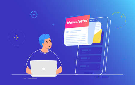 Newsletter subcription and push notifications on mobile app. Flat vector illustration of smiling man working with laptop and looking at a big smartphone with new monthly letter flying out of screen
