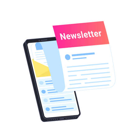 Newsletter subcription online in mobile app. Flat vector illustration of big smartphone with new monthly letter flying out of screen for staying up-to-date and get news and updates on white background 向量圖像