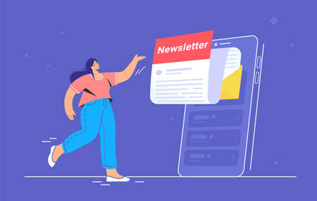 Newsletter subcription online in mobile app. Flat vector illustration of smiling woman pointing to big smartphone with new monthly letter flying out of screen to be up-to-date and get news and updates