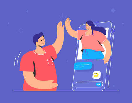 Video call conversation and couple giving a high-five. Concept vector illustration of two friends talking via video call on a chat messenger. Online conference and distance communications for people
