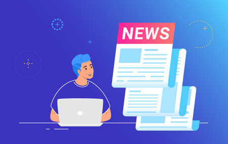 Breaking news notification of latest updates for world, entertainment and politics. Flat vector illustration of smiling man working with laptop and looking at a big daily newspaper