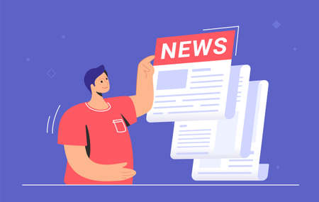 Breaking news notification of latest updates for world, entertainment and politics. Flat vector illustration of cute man standing near a big daily newspaper and reading hot news and stories
