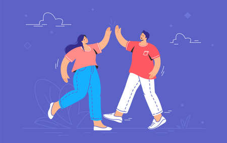 Young couple giving a high-five. Concept vector illustration of two friends meeting each other outdoors and giving a high five. Friendship and live communication for people isolated on purple 向量圖像