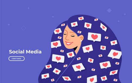 Social media likes and hearts flying in human head.