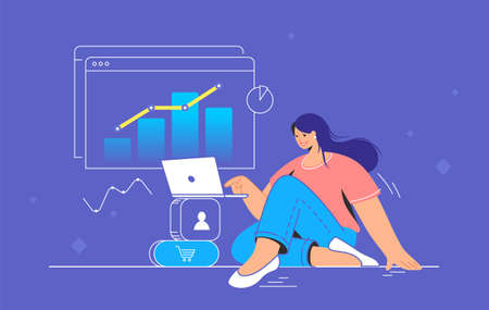 Data analysis for increasing sales and revenue. Flat line vector illustration of cute woman sitting with laptop and working with graph. Social media data analytics concept isolated on white background