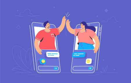 Video call or mobile chat conversation. Concept vector illustration of two friends giving a high-five on smartphones in the chat messenger. Online conference and distance communications for people