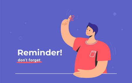 Reminder, do not forget an important task. Young man standing and showing his hand and red tape on the finger. Flat modern concept vector illustration of pointing finger to remind and notify tasks 向量圖像