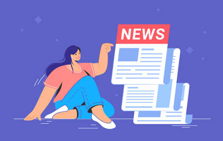 Breaking news notification of latest updates for world, entertainment and politics. Flat vector illustration of cute woman sitting alone near a big daily newspaper and reading hot news and stories 向量圖像