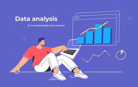 Data analysis to increase sales and revenue. Flat line vector illustration of cute man sitting with laptop and working with growing graph. Business data analytics concept isolated on purple background