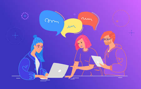 Three guys working as team and talking with speech bubbles. Flat line vector illustration of people with laptop and digital tablet discussing the project at work desk. Teamwork on gradient background