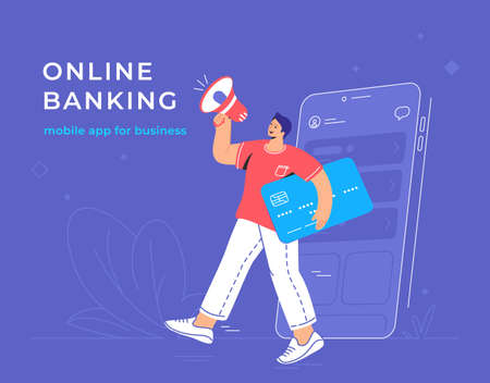 Online announcement of a new banking mobile app for business. Flat vector illustration of smiling man going out of a smartphone with blue credit card and shouting into loudspeaker for investors