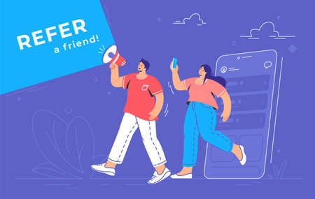Refer a friend an audience announcement on loudspeaker. Flat line vector illustration of cute man and woman going out of a smartphone and shouting with megaphone to invite new users for social media 向量圖像