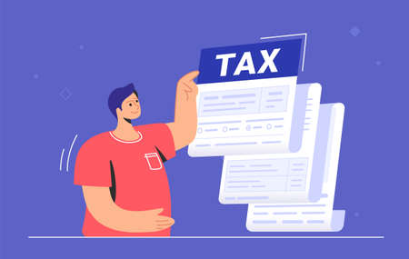 Big tax form or annual notification of monthly duty and debt. Flat vector illustration of cute man standing near a big tax form and pointing to the summary amount before doing payment