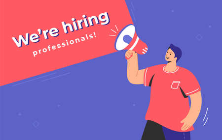 We are hiring professionals with happy man shouting on megaphones 向量圖像