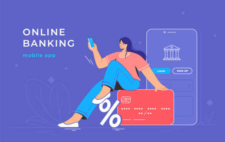 Online banking app and red credit card. Flat vector illustration of smiling woman sitting on a big credit card with bank mobile app and smartphone behind her for profit accounting and investments 向量圖像