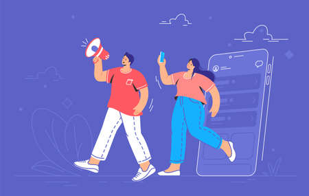 Illustration of a man and woman going out of a smartphone and shouting with a megaphone to invite new users and subscribers 向量圖像