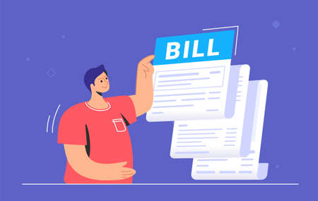 Big bill or payment notification of monthly accounting and debt. Flat vector illustration of cute man standing near a big invoice and pointing to the summary amount before doing payment