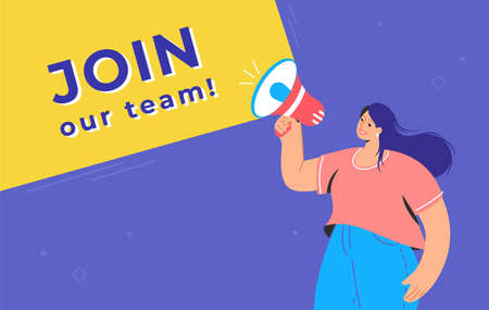 Join our creative team concept illustration of happy woman shouting on megaphone to invite new teammates for new project. Flat vector design for web banner for hiring to the project and increase staff