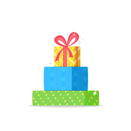 Christmas gifts icon. Flat vector symbol of three decorated christmas presents with red ribbon on the upper yellow box. Holiday symbol isolated on white background