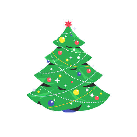 Christmas tree icon. Flat vector symbol of decorated green xmas tree for celebrating merry christmas and happy new year. Holiday symbol isolated on white background