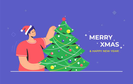 Christmas tree decoration. Flat vector symbol of smiling man wearing santa red hat is decorating xmas tree for celebrating merry christmas and happy new year. Preparation for xmas celebration