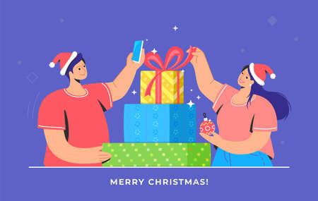 Christmas gifts unpacking and taking pictures for social media. Flat vector symbol of smiling woman wearing santa red hat and unpacking xmas presents, young man holding smartphone and recording video
