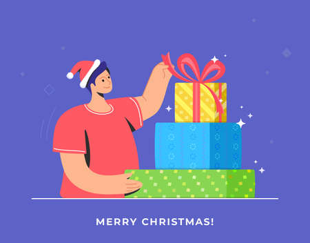 Christmas gifts unpacking and celebration. Flat vector symbol of smiling man wearing santa red hat and unpacking present or decorated gift with red ribbon for celebrating merry xmas and happy new year