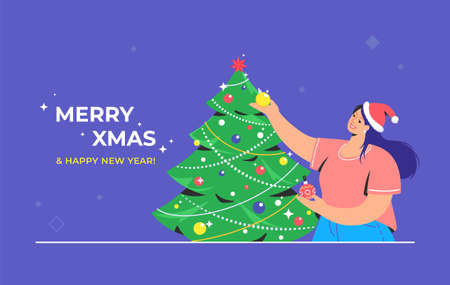 Christmas tree decoration. Flat vector symbol of smiling woman wearing santa red hat is decorating xmas tree for celebrating merry christmas and happy new year. Preparation for xmas celebration