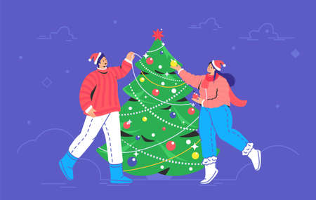 Christmas tree decoration. Flat vector symbol of smiling couple wearing santa red hats are decorating xmas tree for celebrating merry christmas and happy new year outdoors. Preparation for xmas party