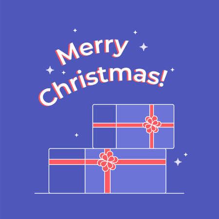 Christmas gifts icon. Flat vector symbol of two decorated christmas presents with red ribbon and bow. Holiday symbol isolated on purple background and merry christmas congratulation letters