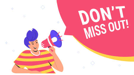 Do not miss out community announcement with loud megaphone. Flat vector illustration of cute man holds red loud-hailer with speech bubbles for community alert in social media. Marketing promo banner Ilustración de vector