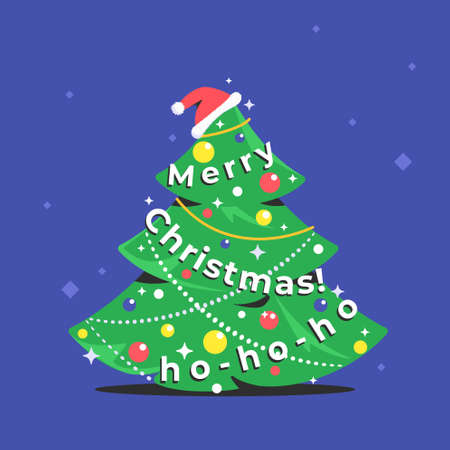 Xmas tree icon with merry christmas letters as a garland. Flat vector symbol of a green fir decorated for celebrating christmas and happy new year. Holiday symbol with santa hat isolated on purple
