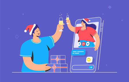 Merry Christmas congratulation via video call. Vector illustration of young woman is greeting her male friend with a glass of champagne from mobile screen. Cheers and online holiday greetings