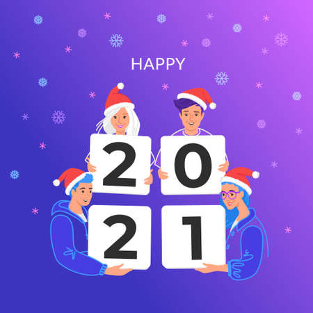 Happy new 2021 year congratulation from young community. Bright vector illustration of young teenagers wearing santa hats and holding cards with letters 2021. Purple gradient background and snowflakes 向量圖像