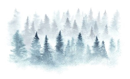 Winter forest in a fog painted in watercolor. Isolated on white background.
