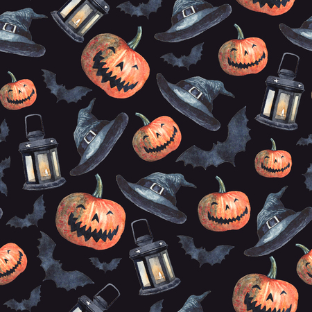 Watercolor Halloween seamless pattern. Isolated illustrations on black background - scary pumpkins, lanterns with candles inside, witch hats and bats. Stock Photo