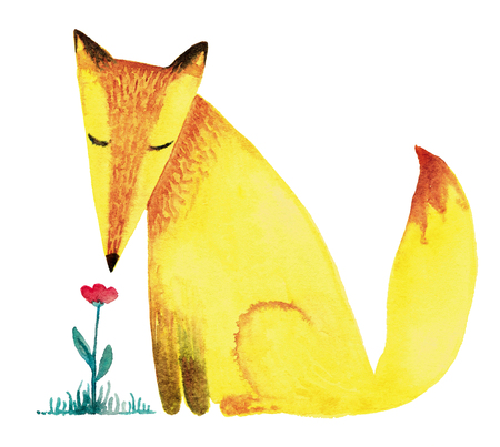 Little yellow fox is sniffing a flower. Watercolor illustration isolated on white background, for a birthday or greeting card.
