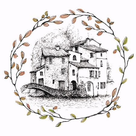 A pen sketch of Italian landscape - a village on a lake called Como, in the Alps. A landscape inside a wreath of branches. Ink drawing isolated on white background.